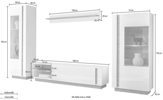 Wohnwände - Wohnwand »CLAiR Kombi 22«, (Set, 4 tlg)  - Onlineshop OTTO