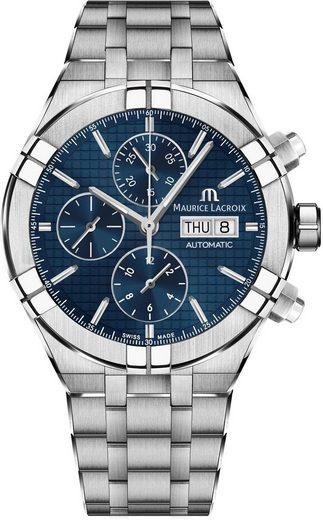 MAURICE LACROIX Chronograph »Aikon, AI6038-SS002-430-2«, (Set, 2-tlg., mit zusätzlichem blauem Wechsel-Lederband)