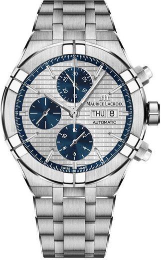 MAURICE LACROIX Chronograph »Aikon, AI6038-SS002-131-2«, (Set, 2-tlg., mit zusätzlichem blauem Wechsel-Lederband)
