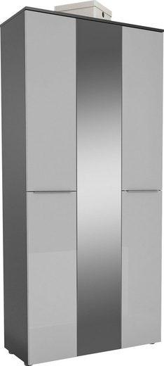 Garderobenschrank »TREND Garderobenschrank 2571« Oberplatte Holz, mittlere Tür mit Spiegel, 1 ausziehbare Kleiderstange