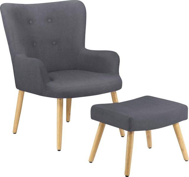 Sessel und Hocker - my home Sessel »Levent«, inklusive eines Hockers, in unterschiedlichen Bezugsqualitäten und Farbvarianten, Sitzhöhe 40 cm  - Onlineshop OTTO