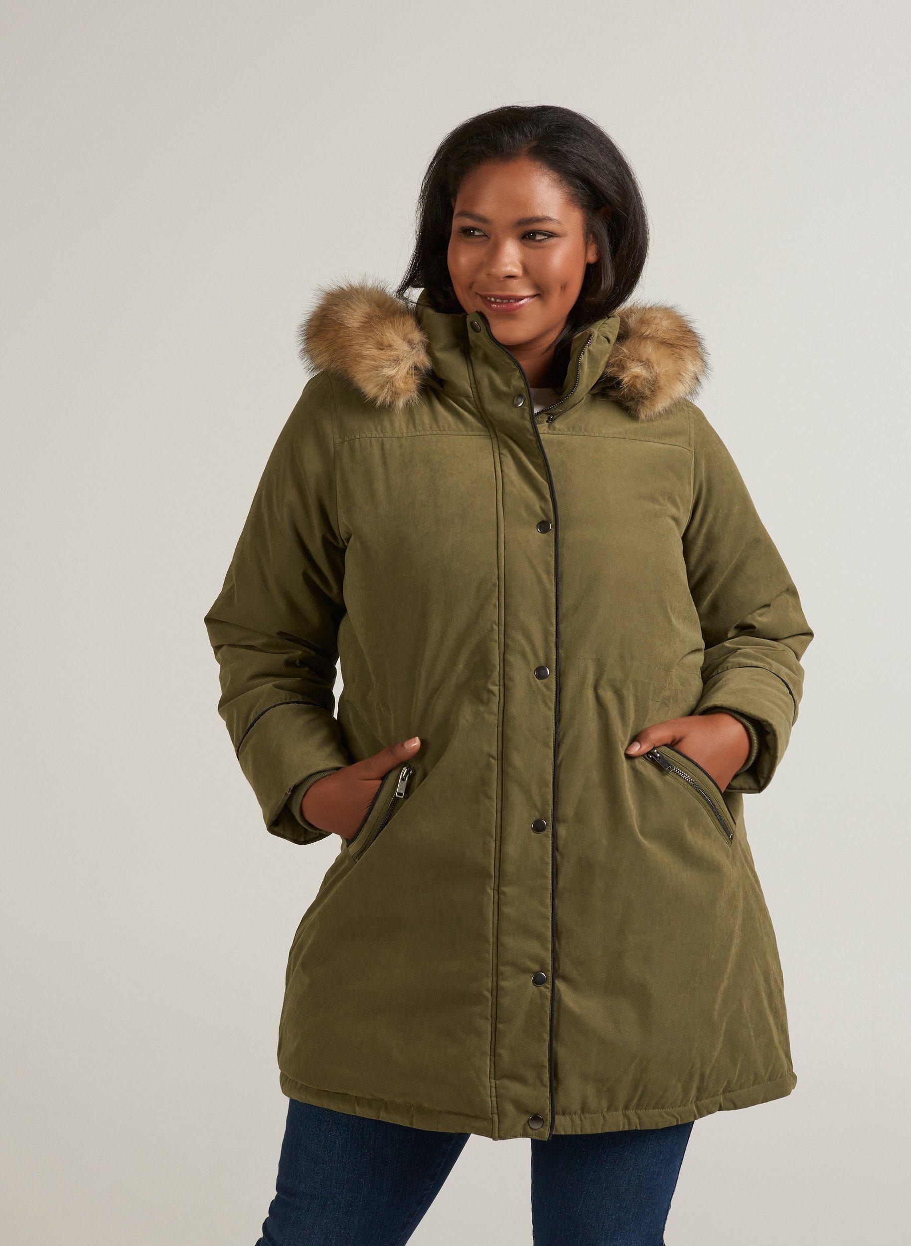 Zizzi Parka Damen Große Größen Winterjacke Kunstfellkragen Warm Kapuze Jacke online kaufen | OTTO