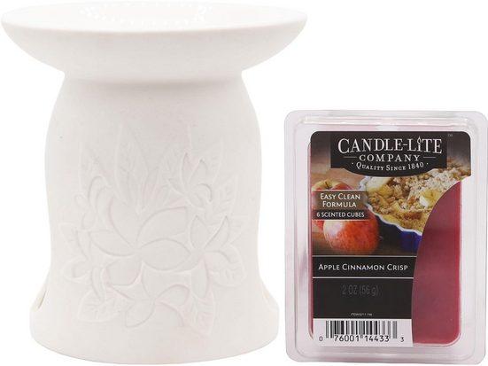"Candle-lite™ Duftlampe »Apple Cinnamon Crisp« (Set, bestehend aus: 1x Duftlampe ""Fleur"", 1x Duftwachswürfel-Set)"