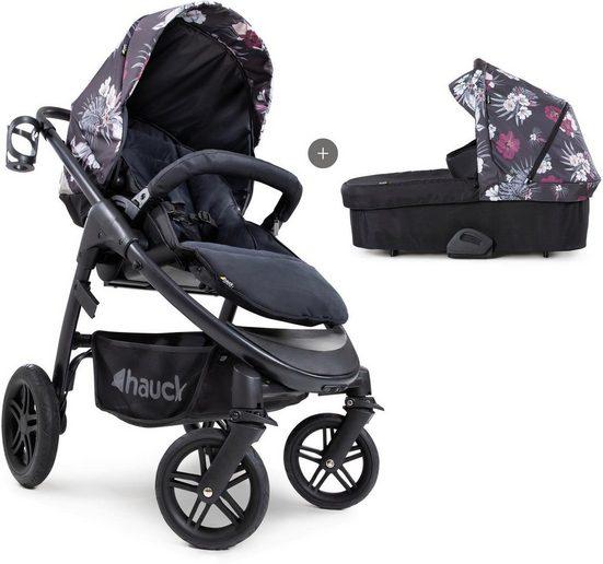 Hauck Kombi-Kinderwagen »iPro Saturn R Duoset, wild blooms black«, inkl. Babywanne und Beindecke