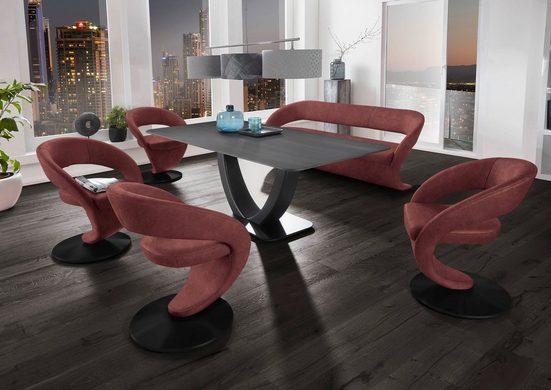 K+W Komfort & Wohnen Essgruppe »Wave«, (Set), Design-Solobank mit 4 Design-Drehstühlen und Tisch in 180x90cm, Tischplatte Wildeiche treibholzfarbig, Füße Bank / Stühle Metall schwarz Struktur