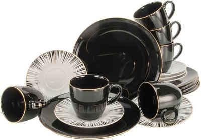 CreaTable Kaffeeservice »Enjoy Black Style« (18-tlg), Porzellan