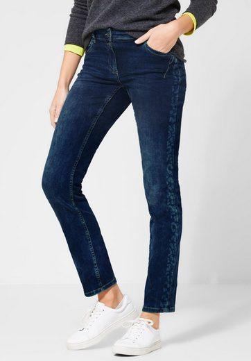 Cecil Loose-fit-Jeans mit Galonstreifen im Leo-Look