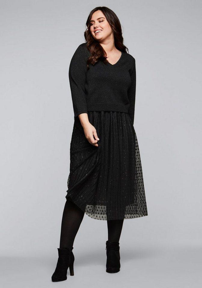 Festtagsmode - Sheego Abendkleid mit Pullover in 2 in 1 Optik › schwarz  - Onlineshop OTTO