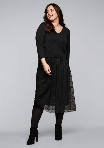 Sheego Abendkleid mit Pullover in 2-in-1-Optik