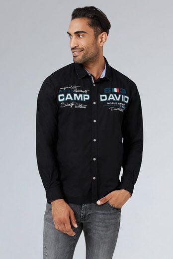 CAMP DAVID Langarmhemd Applikation