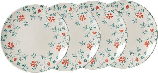 Ritzenhoff & Breker Speiseteller »Julia«, (4 Stück), mit Floral-Dekor, Ø 26,5 cm