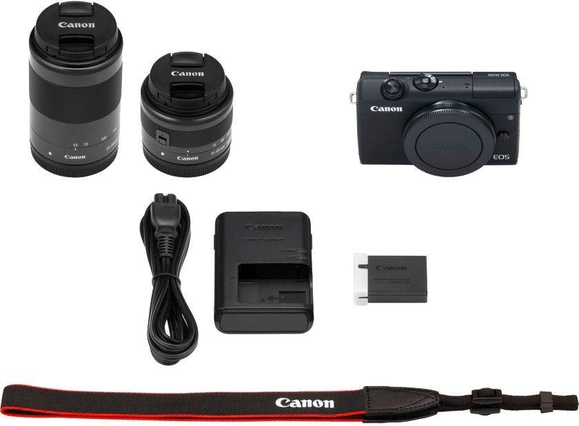 Systemkameras - Canon »EOS M200 EFM 15 45mm EFM 55 200« Systemkamera (EF M 15 45mm f 3.5 6.3 IS STM, EB EF M55 200mm f 4.5 6.3 IS STM, 24,1 MP, Bluetooth, WLAN (Wi Fi)  - Onlineshop OTTO