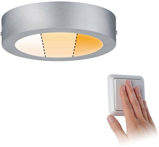 Paulmann LED Deckenleuchte »Carpo LED Panel Warmdimmfunktion 170 mm Chrom matt 10,2W Metall«, 1-flammig