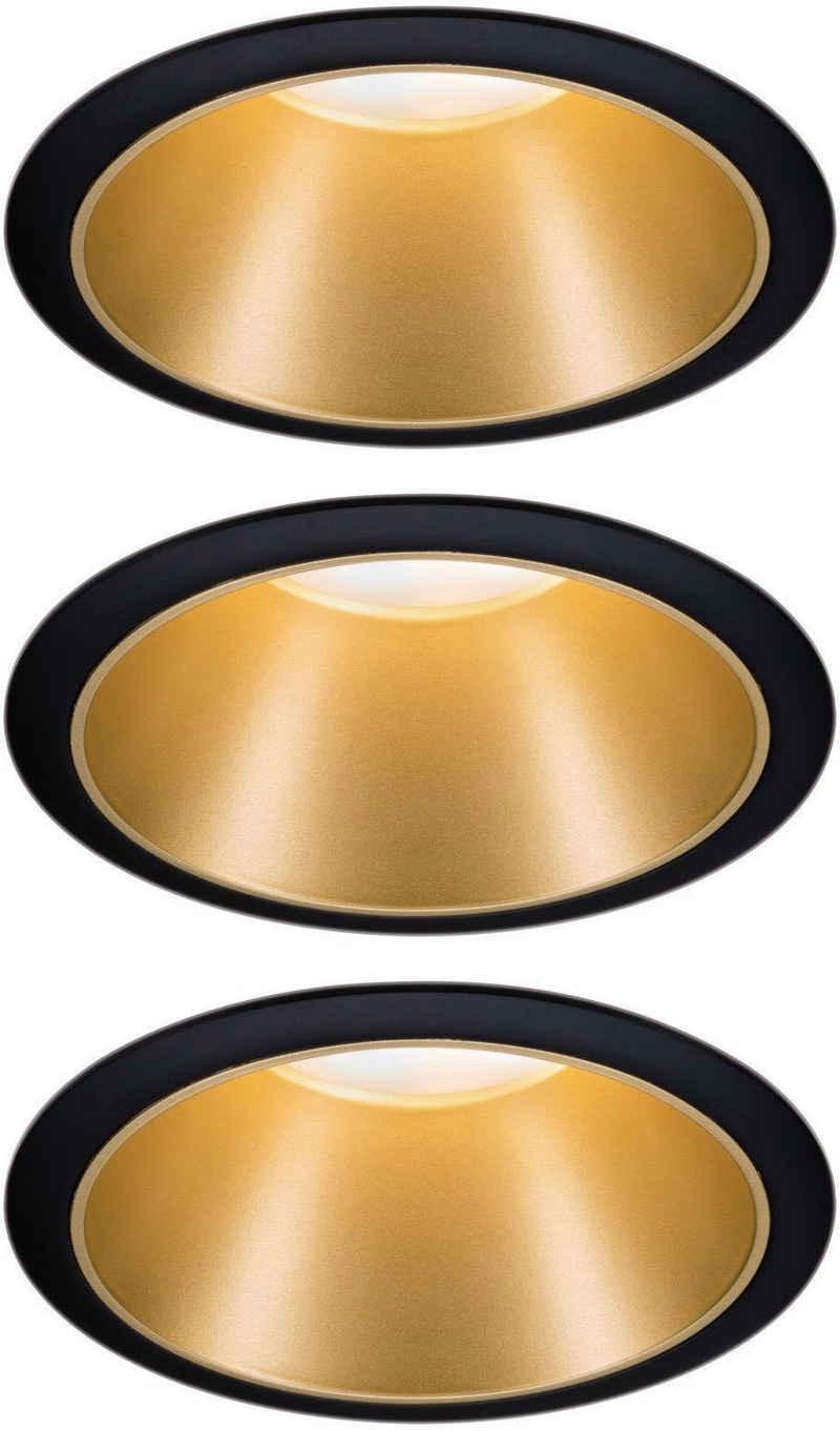 Paulmann LED Einbauleuchte »3er Set Cole 3x6,5W Schwarz/Gold matt 2700K Warmweiß«, 3-Stufen-dimmbar
