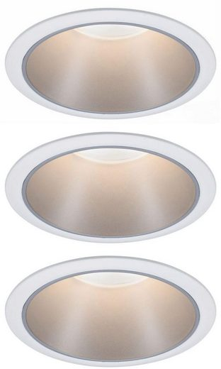 Paulmann LED Einbauleuchte »3er Set Cole 3x6,5W Weiß/Silber matt 3-Stufen-dimmbar 2700K Warmweiß«, Deckenspots, 3er Set