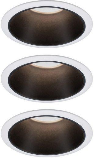 Paulmann LED Einbauleuchte »Set Cole 3x6,5W Weiß/Schwarz matt 3-Stufen-dimmbar 2700K Warmweiß«