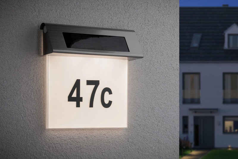 Paulmann LED Außen-Wandleuchte »Solar Hausnummer LED Edelstahl Weiß 0,2W«