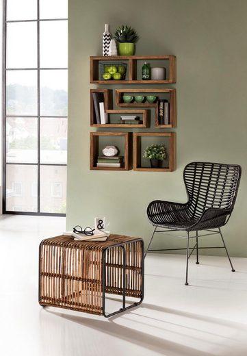 SIT Sessel »Sit&Chairs«, mit geschwungenen Armlehnen, in schwarz oder natur, Shabby Chic, Vintage