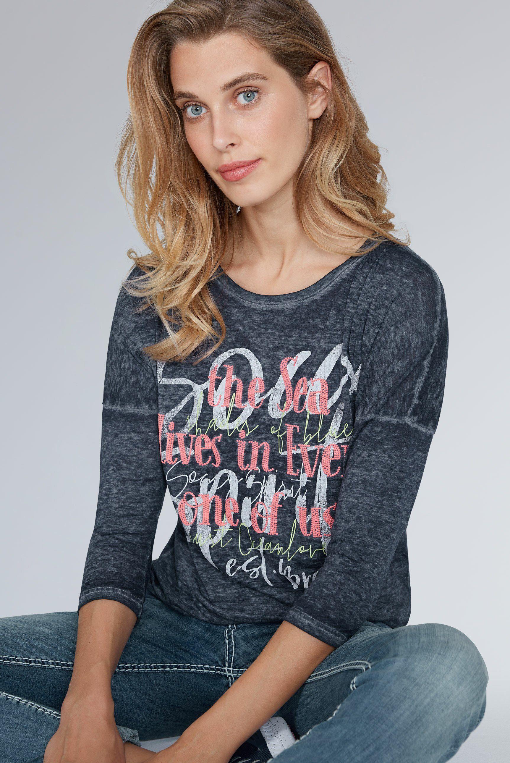 Damen SOCCX T-Shirt mit Applikationen blau, schwarz, weiß | 04048182119130