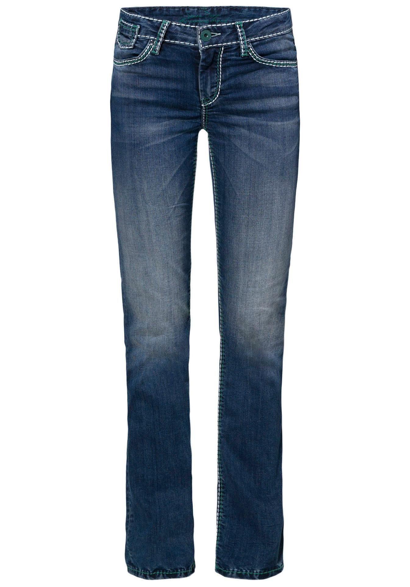 SOCCX Gerade Jeans »CO:LE« mit kontrastfarbigen, dicken Deko Steppnähten online kaufen   OTTO