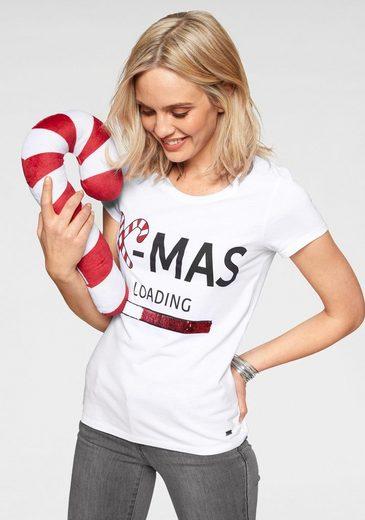Arizona T-Shirt »glänzende Wende-Pailletten« mit X-MAS Motiv