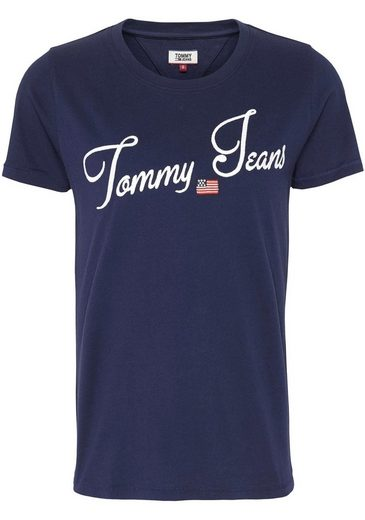 TOMMY JEANS T-Shirt »TJW VINTAGE SCRIPT TEE« mit Tommy Jeans Signature-Logo & Flag