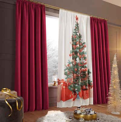 Vorhang »Xmas Tree«, my home, Stangendurchzug (1 Stück), HxB: 230x140, Weihnachtsdeko
