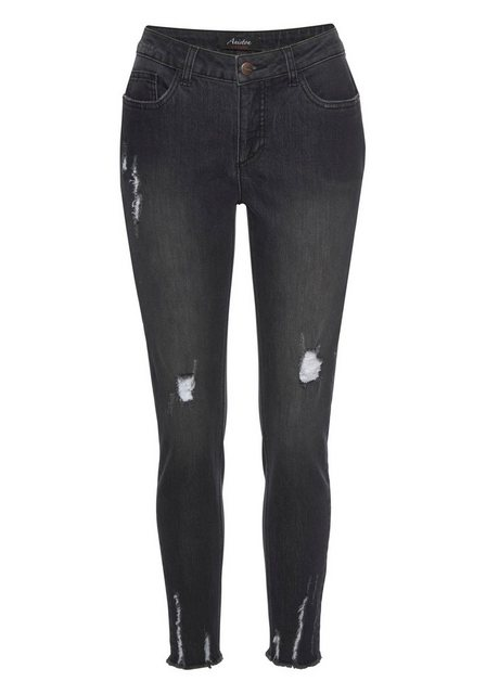 Hosen - Aniston CASUAL Skinny fit Jeans mit Destroyed Effekt › schwarz  - Onlineshop OTTO