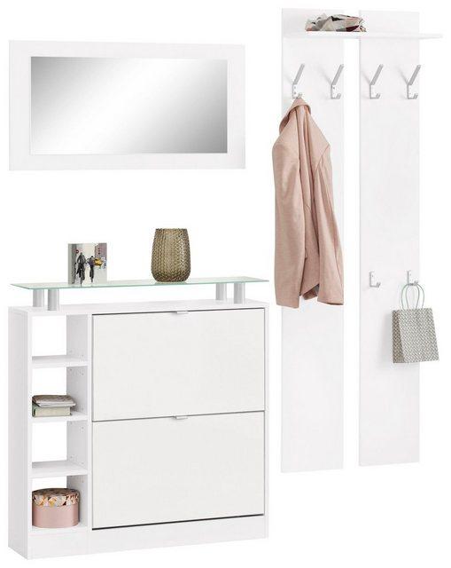 Garderoben Sets - borchardt Möbel Garderoben Set »Dolly«, (Set, 3 tlg), mit Glasablage  - Onlineshop OTTO