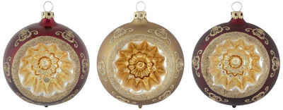 Thüringer Glasdesign Weihnachtsbaumkugel »Opulent« (3 Stück), Reflexkugel, dekoriert