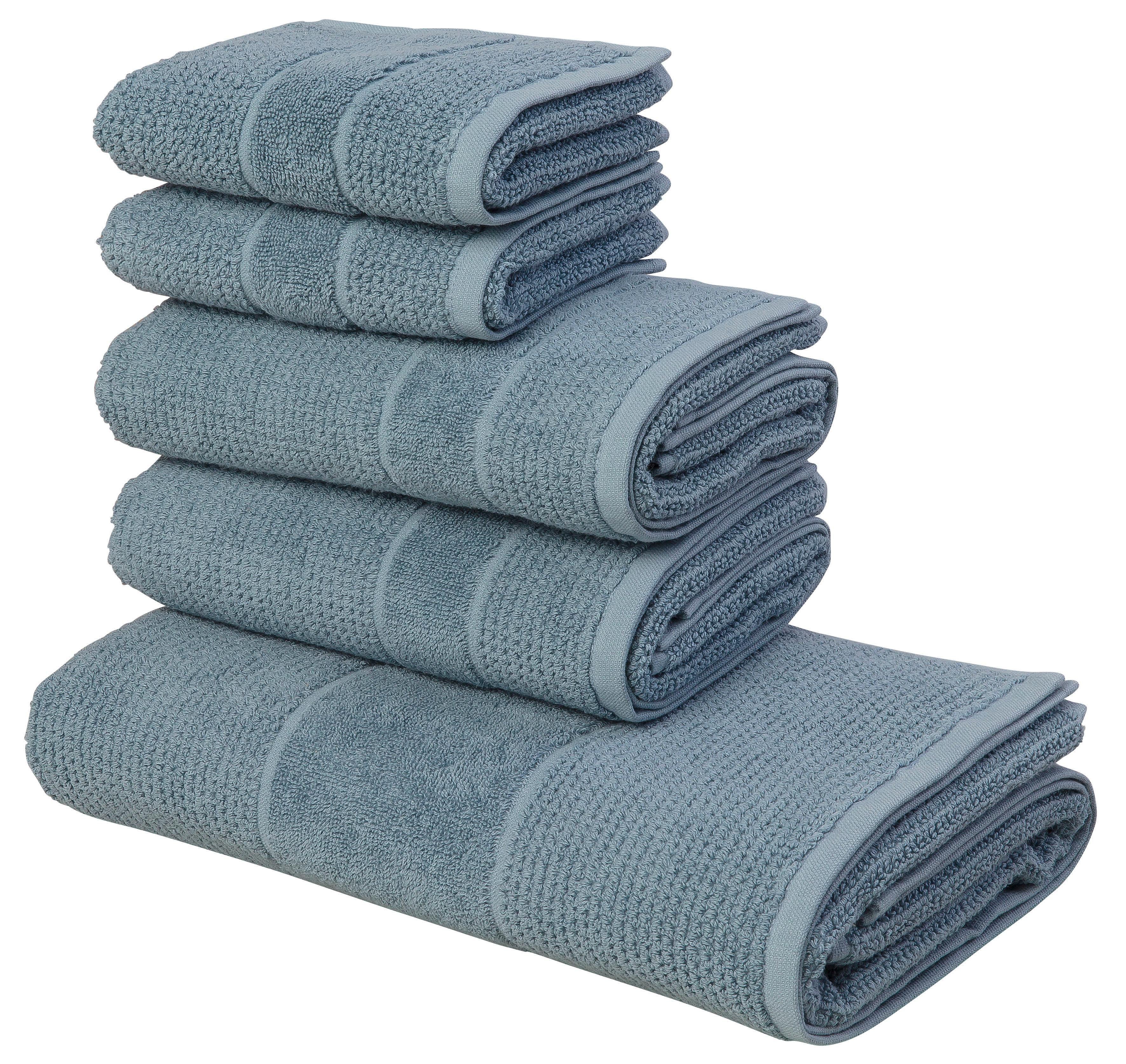 Wasch-Set 2 Handtücher 1 Duschtuch gemustert 100/% Baumwolle Frotteetuch 3 tlg.