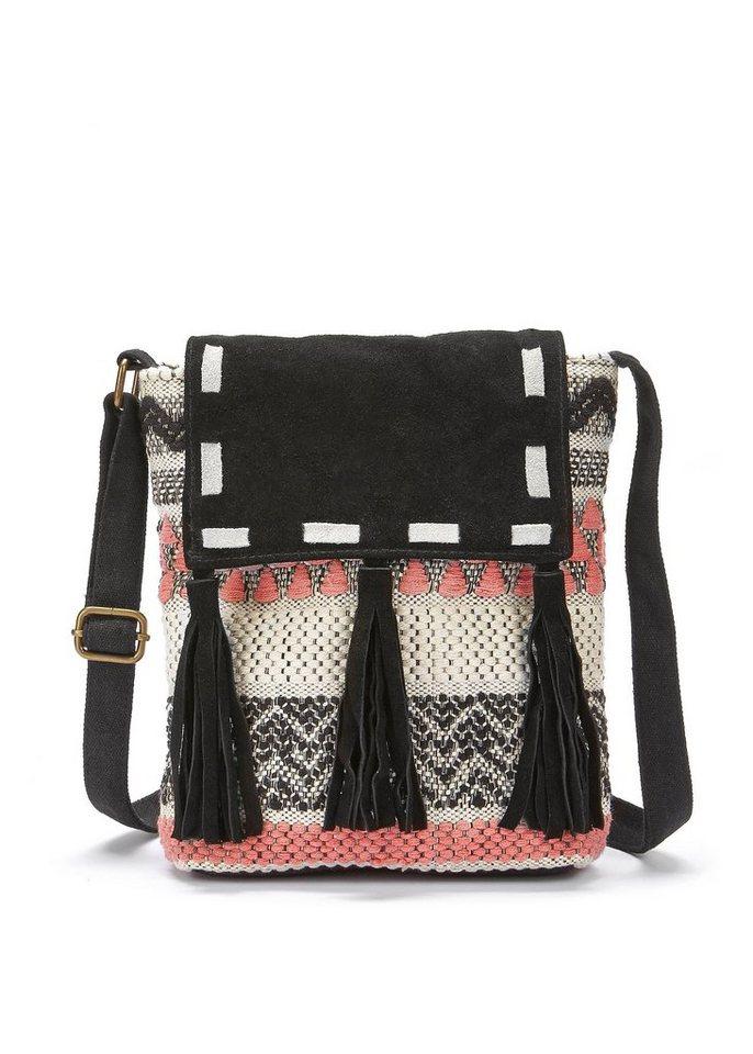 lascana -  Umhängetasche, Strandtasche mit Lederapplikation und im Ethnolook