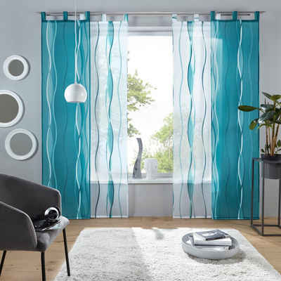 Schiebegardine »Dimona«, my home, Schlaufen (2 Stück), Fertiggardine, inkl. Beschwerungsstange, transparent