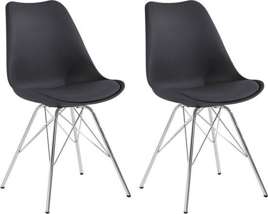 Homexperts Esszimmerstuhl »Ursel 03« (2 Stück), Sitzschale mit Sitzkissen in Kunstleder