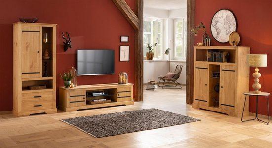Home affaire Stauraumschrank »Loki« aus massivem Kiefernholz, mit zwei verstellbaren Holzeinlegeböden, Höhe 170 cm