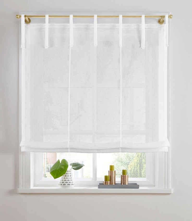 Raffrollo »TENDER«, Guido Maria Kretschmer Home&Living, mit Bindebänder, transparent, Leinen Optik mit Struktur, monochrom