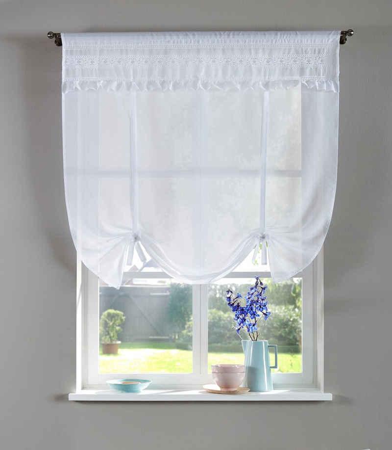 Bindegardine »LISA«, Home affaire, Stangendurchzug (1 Stück), transparent, Bindegardine mit echter Spitze