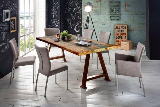SIT Esstisch »Tops&Tables«, mit Platte aus recyceltem Altholz mit Farbresten, Shabby Chic, Vintage