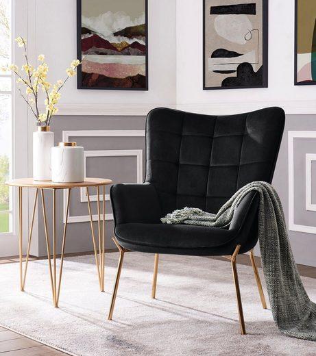 Leonique Loungesessel »Loue«, mit schönem, weichen Velvet Bezug, in verschiedenen Farbvarianten, mit Metallgestell