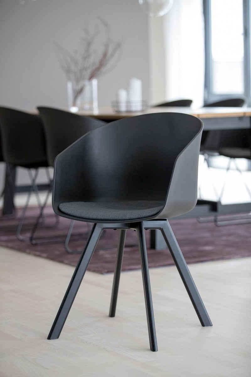 andas Schalenstuhl »Maik« (Set, 2 Stück), mit Metallbeinen und einem bequemen Sitzkissen aus schönem Webstoff, Sitzhöhe 46 cm
