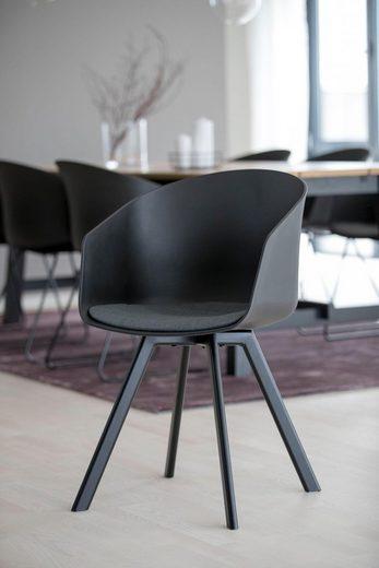 andas Schalenstuhl »Maik« 2er Set, mit Metallbeinen und einem bequemen Sitzkissen aus schönem Webstoff, Sitzhöhe 46 cm