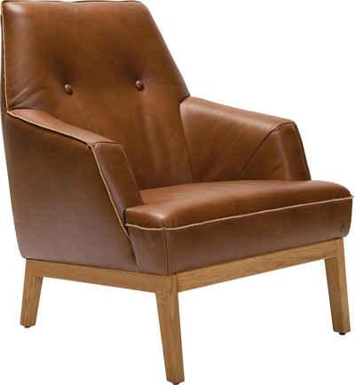 TOM TAILOR Sessel »COZY«, im Retrolook, mit Kedernaht und Knöpfung, Füße Eiche natur