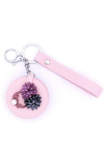 J.Jayz Schlüsselanhänger »mit Blüten und rundem klappbaren Kosmetikspiegel«, mit Acrylperle