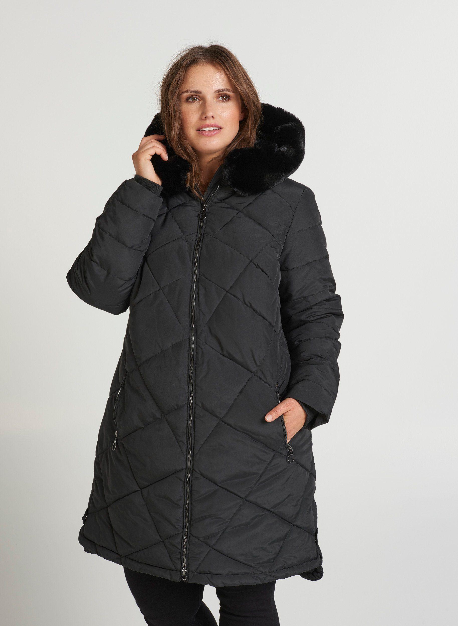 Zizzi Winterjacke Damen Große Größen Wintermantel Parka Kunstfellkapuze Jacke, Schöne Ziersteppungen online kaufen | OTTO