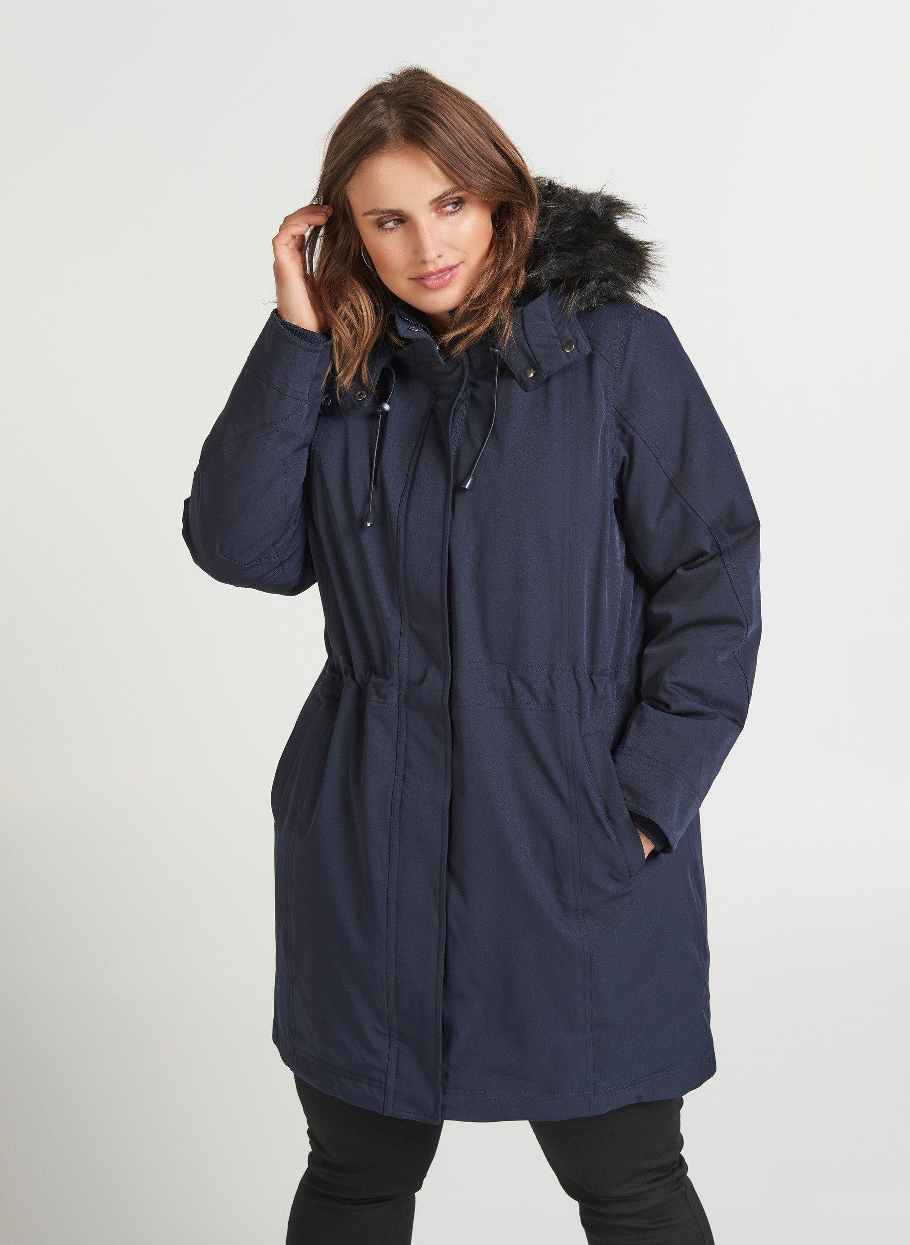 Zizzi Winterjacke Damen Große Größen Jacke Kapuze Parka Kunstfellkapuze Wintermantel online kaufen | OTTO