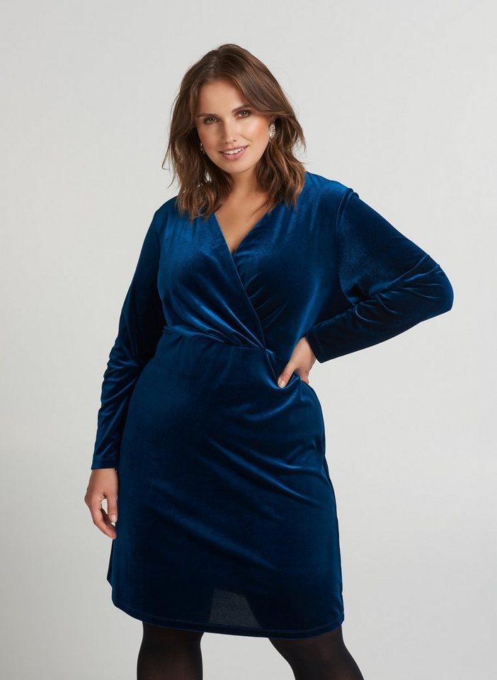 Festtagsmode - Zizzi Partykleid Damen Große Größen Kleid Samt Langarm V Ausschnitt Abendkleid ›  - Onlineshop OTTO