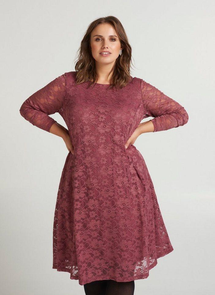 Festtagsmode - Zizzi Spitzenkleid Damen Große Größen Spitzenkleid Langarm Spitze Elegant Kleid ›  - Onlineshop OTTO