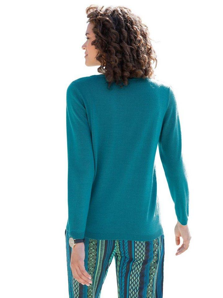 Damen Classic Basics Pullover mit Vogelmotiv grün | 08854965099379
