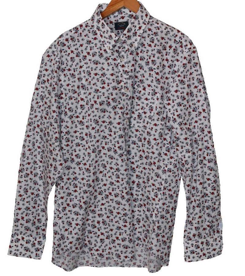 PAUL & SHARK Langarmhemd »PAUL & SHARK Button Down-Hemd auffälliges Herren Alltags-Hemd Mode-Hemd mit Blumen-Muster Weiß/Rot«
