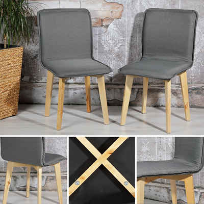 Mucola Esszimmerstuhl »Stuhl Esszimmerstuhl Set Stühle Esszimmerstühle 2 Küchenstuhl Grau Hochlehner«